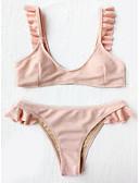 tanie Bikini i odzież kąpielowa 2017-Damskie Pasek Tankini Solidne kolory Dół typu Cheeky