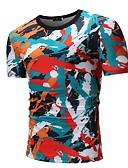 tanie Koszulki i tank topy męskie-T-shirt Męskie Aktywny / Podstawowy Bawełna Kij Okrągły dekolt Kolorowy blok / Krótki rękaw