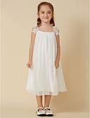 cheap Flower Girl Dresses-Sheath / Column Knee Length Flower Girl Dress - Chiffon / Lace Sleeveless Scoop Neck with Pleats by LAN TING BRIDE®