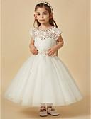 olcso Virágszóró kislány ruhák-A-vonalú Térdig érő Virágoslány ruha - Csipke / Szatén / Tüll Ujjatlan Scoop nyak val vel Gyöngydíszítés / Csokor / Pántlika / szalag által LAN TING BRIDE®