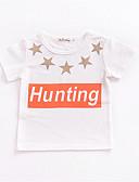 baratos Blusas para Bebês-bebê Unisexo Moda de Rua Geométrica Manga Curta Camiseta / Bébé