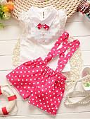 Χαμηλού Κόστους Σετ ρούχων για κορίτσια-Νήπιο Κοριτσίστικα Ενεργό Καθημερινά / Αργίες Πουά Δαντέλα / Φιόγκος Αμάνικο Κανονικό Βαμβάκι / Ακρυλικό Σετ Ρούχων Ανθισμένο Ροζ