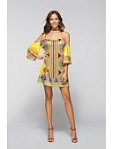 זול שמלות NYE-בגדי ריקוד נשים בוהו משוחרר מכנסיים - פרחוני / גיאומטרי מותניים גבוהים פול / מיני / כתפיה / סירה מתחת לכתפיים / מועדונים / סירה מתחת לכתפיים