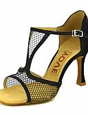 זול שמלות נשים-בגדי ריקוד נשים נעליים לטיניות / נעלי סלסה רשת סנדלים / עקבים אבזם / עניבת פרפר עקב מותאם מותאם אישית נעלי ריקוד אדום / כחול / מוזהב / הצגה / עור / מקצועי
