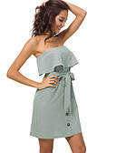 cheap Women's Two Piece Sets-Women's Going out Slim Sheath Dress - Solid Colored High Waist Strapless