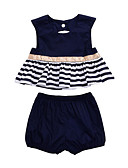 cheap Baby Girls' Clothing Sets-Baby Girls' Blue & White Solid Colored / Striped Sleeveless Clothing Set