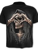 baratos Camisetas & Regatas Masculinas-Homens Camiseta Caveira Exagerado Estampado, Estampa Colorida Caveiras