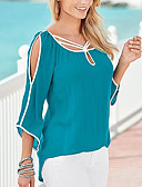 cheap Women's Blouses-Women's Going out Cotton T-shirt - Solid Colored / Cut Out
