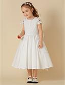 hesapli Çiçekçi Kız Elbiseleri-A-Şekilli Scoop Boyun Diz Boyu Pamuklu / Dantelalar Fiyonk ile Çiçekçi Kız Elbisesi tarafından LAN TING BRIDE®