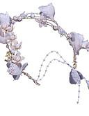 זול צעיפים לנשים-פּוֹלִיאֶסטֶר מצנפת עם דמוי פנינה / פרח חלק 1 חתונה / יום הולדת כיסוי ראש