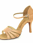 cheap Latin Dance Wear-Women's Latin Shoes / Salsa Shoes Satin Sandal / Heel Buckle / Ribbon Tie Customized Heel Customizable Dance Shoes Bronze / Almond / Nude / Performance / Leather / Professional