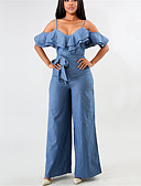 cheap Women's Jumpsuits & Rompers-Women's Off Shoulder Ruffle Going out Basic / Street chic Strap Blue Wide Leg Jumpsuit, Solid Colored Ruffle M L XL High Waist Sleeveless Spring Summer / Sexy