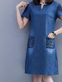 baratos Vestidos Plus Size-Mulheres Vintage Tamanhos Grandes Algodão Calças - Sólido Preto & Branco, Pregueado Azul / Manga Princesa