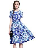 povoljno Ženske haljine-Žene Kinezerije Korice Haljina - Print, Geometrijski oblici Do koljena