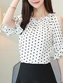 cheap Women's Blazers & Jackets-Women's Basic Blouse - Polka Dot Boat Neck