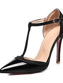 abordables Lencería de Mujer-Mujer Zapatos Cuero Patentado Primavera verano Pump Básico Tacones Paseo Tacón Stiletto Dedo Puntiagudo Plata / Rojo / Nudo