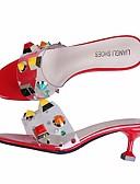halpa Hääbolerot-Naisten Kengät PVC nahka Kesä Comfort Sandaalit Stilettikorko Valkoinen / Musta / Punainen