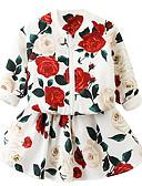 tanie Sukienki dla dziewczynek-Dzieci Dla dziewczynek Podstawowy Kwiaty Długi rękaw Bawełna Komplet odzieży