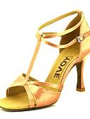 abordables Vestidos de Nochevieja-Mujer Zapatos de Baile Latino / Zapatos de Salsa Satén Sandalia / Tacones Alto Hebilla / Corbata de Lazo Tacón Personalizado Personalizables Zapatos de baile Bronce / Almendra / Nudo / Cuero
