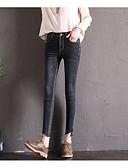 tanie Getry-Damskie Podstawowy Bawełna Szczupła Jeansy Spodnie Solidne kolory Wysoka talia