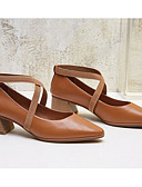 baratos Blusas Femininas-Mulheres Sapatos Pele Napa / Pele Primavera Conforto / Plataforma Básica Saltos Salto Robusto Preto / Vinho / Marron