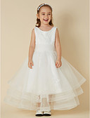 cheap Wedding Dresses-Princess Short / Mini Flower Girl Dress - Lace / Tulle Sleeveless Jewel Neck with Appliques by LAN TING BRIDE®