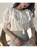 povoljno Vintage kraljica-Veći konfekcijski brojevi Majica s rukavima Žene - Vintage Dnevno Pamuk Jednobojni Puff rukav Rese Blue & White / Crno-bijela