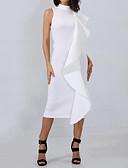 זול שמלות נשים-צווארון עגול קצר מידי קפלים, אחיד - שמלה נדן רזה מתוחכם / סגנון רחוב עבודה בגדי ריקוד נשים