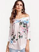 baratos Echarpes Coloridas de Chiffon-Mulheres Blusa - Para Noite Boho Estampado, Floral Algodão Ombro a Ombro Solto