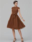 hesapli Nedime Elbiseleri-A-Şekilli Taşlı Yaka Diz Boyu Şifon Kurdeleler ile Nedime Elbisesi tarafından LAN TING BRIDE®