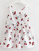 お買い得  女児 ドレス-子供 女の子 活発的 果物 プリント ノースリーブ 膝上 ドレス / コットン