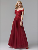 cheap Prom Dresses-A-Line Off Shoulder Floor Length Lace / Tulle Prom / Formal Evening Dress with Beading / Appliques by TS Couture®