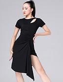 hesapli Latin Dans Giysileri-Latin Dansı Elbiseler Kadın's Performans Modal Dantelalar Kısa Kollu Elbise