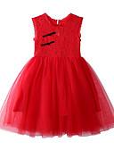 tanie Sukienki dla niemowląt-Dziecko Dla dziewczynek Podstawowy / Moda miejska Solidne kolory Bez rękawów Bawełna Sukienka Czerwony / Brzdąc