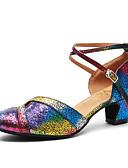 cheap Women's Pants-Women's Modern Shoes Patent Leather Heel Sequin Thick Heel Dance Shoes Rainbow