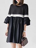 رخيصةأون تنانير نسائية-فستان نسائي قياس كبير كلاسيكي عصري عتيق مطوي - قطن طول الركبة أسود و أبيض لون سادة كم منفوخ, مناسب للخارج