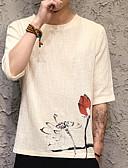 ieftine Hanorace Bărbați și Plover-tricou pentru bărbați din in-lenjerie - gât rotund solid colorat