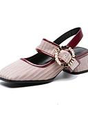 baratos Chapéus de Moda-Unisexo Sapatos Cetim Primavera Verão Conforto Sandálias Salto Robusto Ponta quadrada Rosa claro / Listrado