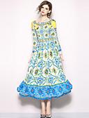 זול שמלות נשים-מקסי דפוס, פייסלי - שמלה סווינג בוהו סגנון רחוב חגים ליציאה בגדי ריקוד נשים