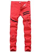 tanie Męskie koszulki polo-Męskie Aktywny / Podstawowy Bawełna Szczupła Jeansy / Typu Chino Spodnie - Solidne kolory Biały