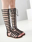 זול שמלות נשים-בגדי ריקוד נשים נעליים PU קיץ גלדיאטור סנדלים שטוח בוהן מציצה שחור / חום / מסיבה וערב