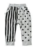 hesapli Erkek Çocuk Pantolonları-Toddler Genç Erkek Temel Günlük Spor Çizgili Desen Pamuklu Pantolon Gri