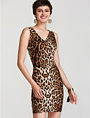 cheap Women's Dresses-Women's Skinny Bodycon Dress - Leopard Basic V Neck