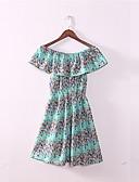 preiswerte Höschen-Damen Retro Puff Ärmel Etuikleid Kleid - Gefaltet, Solide / Geometrisch Knielang Blau & Weiß