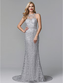 cheap Evening Dresses-Sheath / Column Illusion Neck Sweep / Brush Train Lace Sparkle & Shine Prom / Formal Evening Dress with Beading / Appliques by TS Couture®