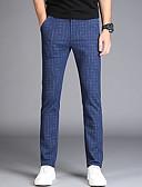povoljno Muške duge i kratke hlače-Muškarci Osnovni Slim Chinos Hlače - Prugasti uzorak Navy Plava