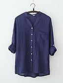 baratos Blusas Femininas-Mulheres Camisa Social Básico / Moda de Rua Sólido
