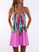 זול שמלות נשים-צווארון U מעל הברך שמלה טוניקה משוחרר מידות גדולות בגדי ריקוד נשים