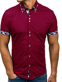 cheap Men's Shirts-Men's Basic Shirt - Color Block / Short Sleeve