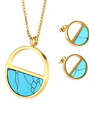 cheap Women's Lingerie-Women's Turquoise Jewelry Set - Bohemian, Natural, Boho Include Stud Earrings Necklace Gold For Gift Night out&Special occasion